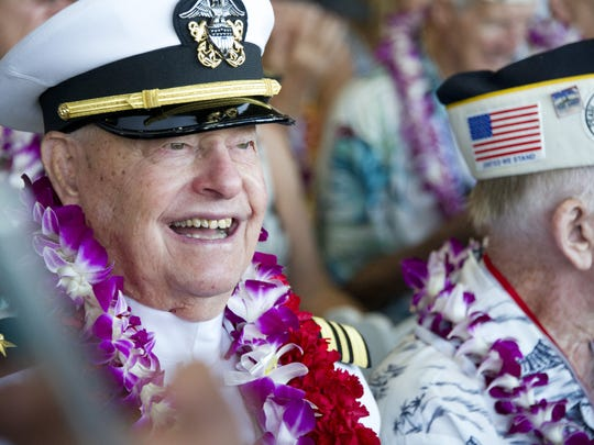 USS Arizona survivor  Lou Conter, wears a Navy uniform