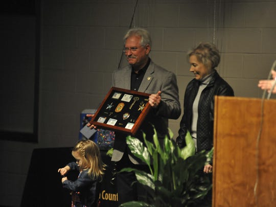 Four-term Santa Rosa County Sheriff Wendell Hall was honored at a retirement ceremony in Milton Thursday night.