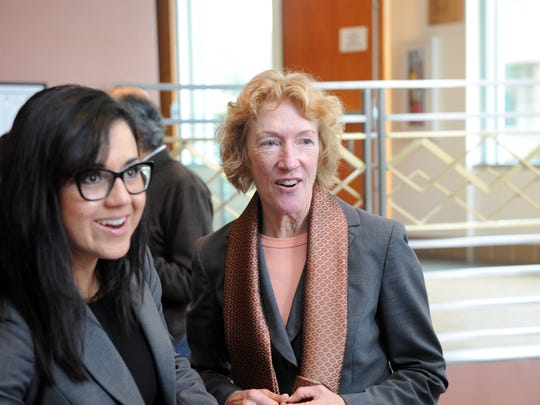 Incumbent District 4 Supervisor Jane Parker with Elsa Jimenez of the Monterey County Health Department at a reception on Tuesday follwoing the weekly meeting in Salin as.