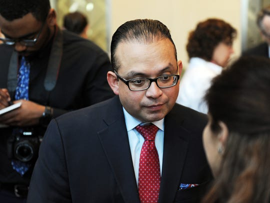 New District 1 Supervisor Luis Alejo speaks with a