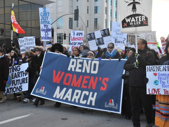 Thousands gathered in downtown Reno for the Reno Women's