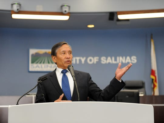 Salinas city manager Ray Corpuz announces a major open data and civic engagement initiative at a City Hall press conference on Tuesday, Jan. 24th.