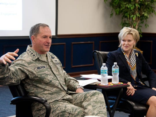 Air Force Chief of Staff Gen. David L. Goldfein addresses the Wing Commanders and Spouses courses, as well as the Group Commander courses at the Eaker Center for Professional Development on Feb. 2. The Goldfeins spoke about the challenges and opportunities military leaders and their families experience.