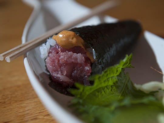 Spicy tuna hand roll at Sagami in Collingswood. Sagami has been nominated for a James Beard award for Outstanding Restaurant.