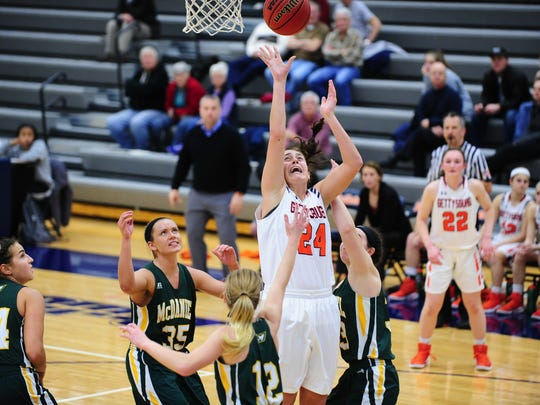 Gettysburg College junior Emily Gibbons holds the school records for rebounds in a season and double-doubles in a season.