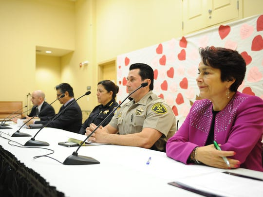 Salinas Police Chief Adele Frese, center, and far right Assemblywoman Anna Caballero were among the panel members.