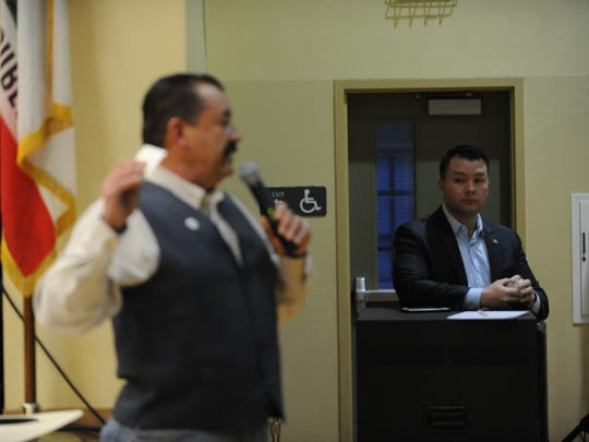 Salinas City Councilmembers left, Tony Barrera and Scott Davis at the immigration forum