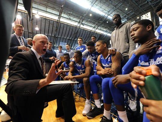 Seton Hall coach Kevin Willard talks strategy during