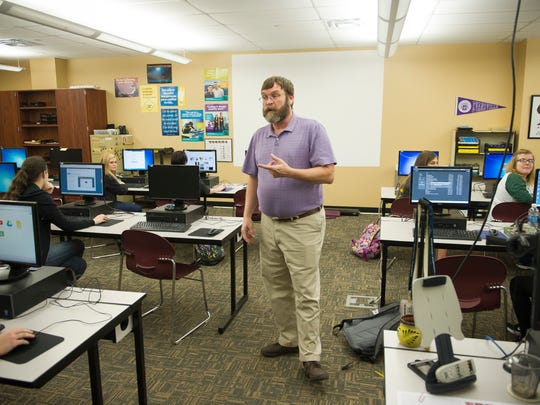 John Spradley of Fort Branch, speaks to his advanced applications class at Gibson Southern High School. Spradley has been teaching at Gibson Southern for 37 years.