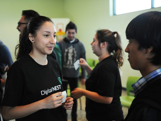 During an icebreaker game on Wednesday, Watsonville Digital NEST members meet prospective Salinas participants.