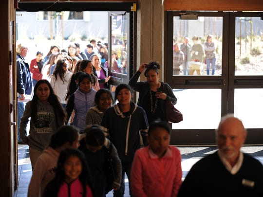 "Vista Verde Middle School students pour through the doors at the Western Stage to watch a matinee performance of ""Miss Electricity."""