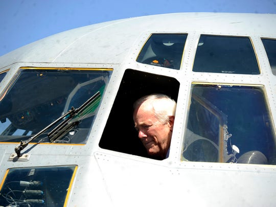 Sen. John Cornyn sits in the cockpit of a C-130J aircraft during a visit to Dyess Air Force Base on Tuesday, April 18, 2017.
