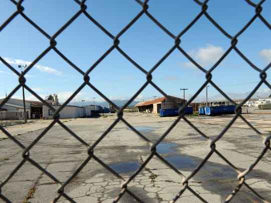 As seen from 312 East Alisal Street, some of the many buildings at the site for the proposed Salinas Public Safety Center.