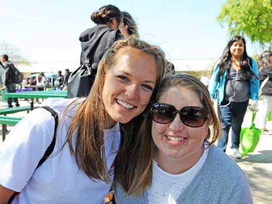Organizers Courtney Baldwin, left, of HealthCorps and Michelle Frankel of Alisal High School's Health Academy at the event on Thursday.