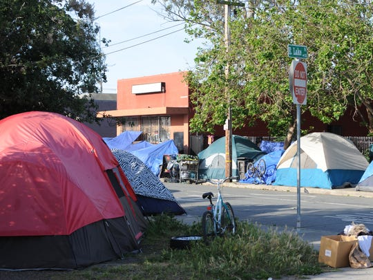 Encampments on the corner of E. Lake St. and Soledad St. in Salinas.