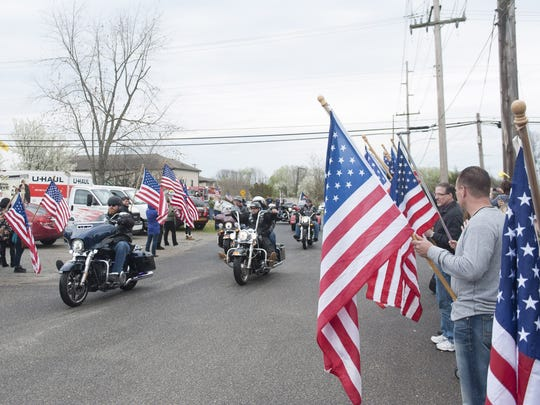 Members of the Warriors' Watch escort U.S. Army National Guard Sgt. and Camden County Police Department Officer Michael S. Shelvin as he is welcomed home from a  deployment overseas by Operation Yellow Ribbon of South Jersey at the Mantua VFW in 2016.