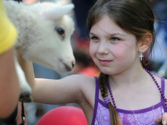 Sami Stroehlein, 7, of Fond du Lac, pets a baby lamb at the annual June Dairy month petting zoo at the National Exchange Bank on South Main Street in Fond du Lac.