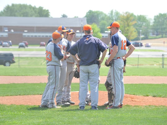 Dan Gorbett talks to the Galion infield during a 2017 district semifinal game against Margaretta.
