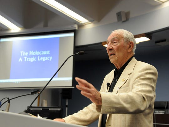 Speaking at the Rotunda in Salinas on Tuesday, survivor Harold Gordon, 87, talks about his experiences during the Holocaust.