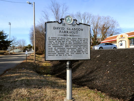 A historical marker located at the Kingston Pike entrance to Farragut High School tells the history of David Farragut.