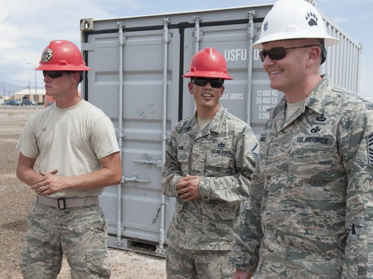 Chief Master Sgt. Jason France, Air Force Materiel Command command chief, visits Holloman Air Force Base, N.M., June 6, 2017. France traveled to various sections around Basic Expeditionary Airfield Resources Base to receive an overview of how they support the entire Air Force enterprise, discuss challenges they face, and discover ways to advocate for the 635th tenant unit.