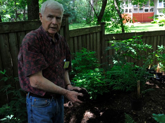 Richard McClain of Grand Rapids shows the rich soil he uses for his garden and potted plants. If the soil isn't right, people's gardens won't be successful, he said.