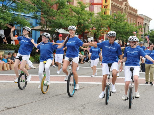 The Redford Unicycle Club participated in the Founders Festival Parade in Farmington in July 2016
