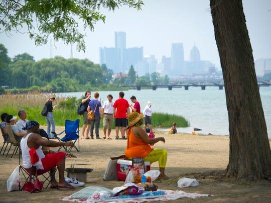 Belle Isle Beach on the Detroit River in Detroit.