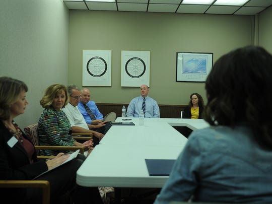 Rep. Kristi Noem talks with local service organizations and law enforcement Aug. 17, 2017, about what's needed to help victims of sexual and domestic violence and human trafficking in Minnehaha County.