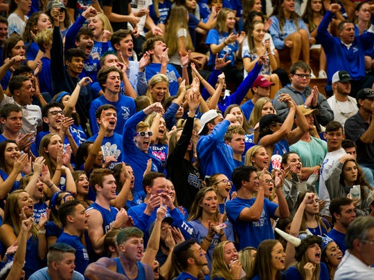 Barron Collier High School fans at the volleyball game against Gulf Coast High School at Barron Collier High School on Tuesday, August 29, 2017.