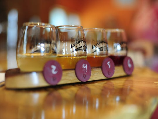 A flight of tasters at the Brimming Horn Meadery. The
