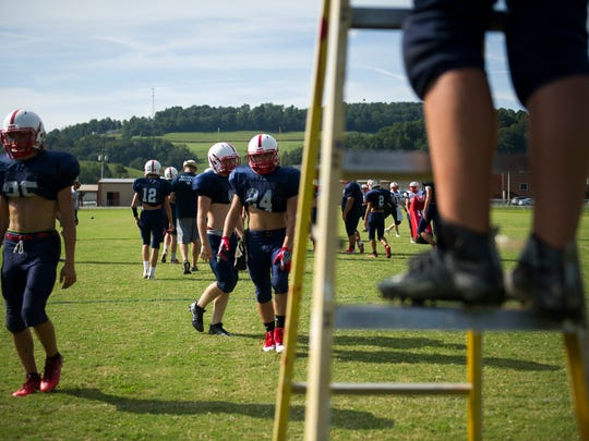 The Union County football team practices at Union County High School Tuesday, Aug. 29, 2017. Union County broke their 27-game loosing streak last Friday, lead by new head coach Larry Kerr and assistant coach Joshua Kerr.