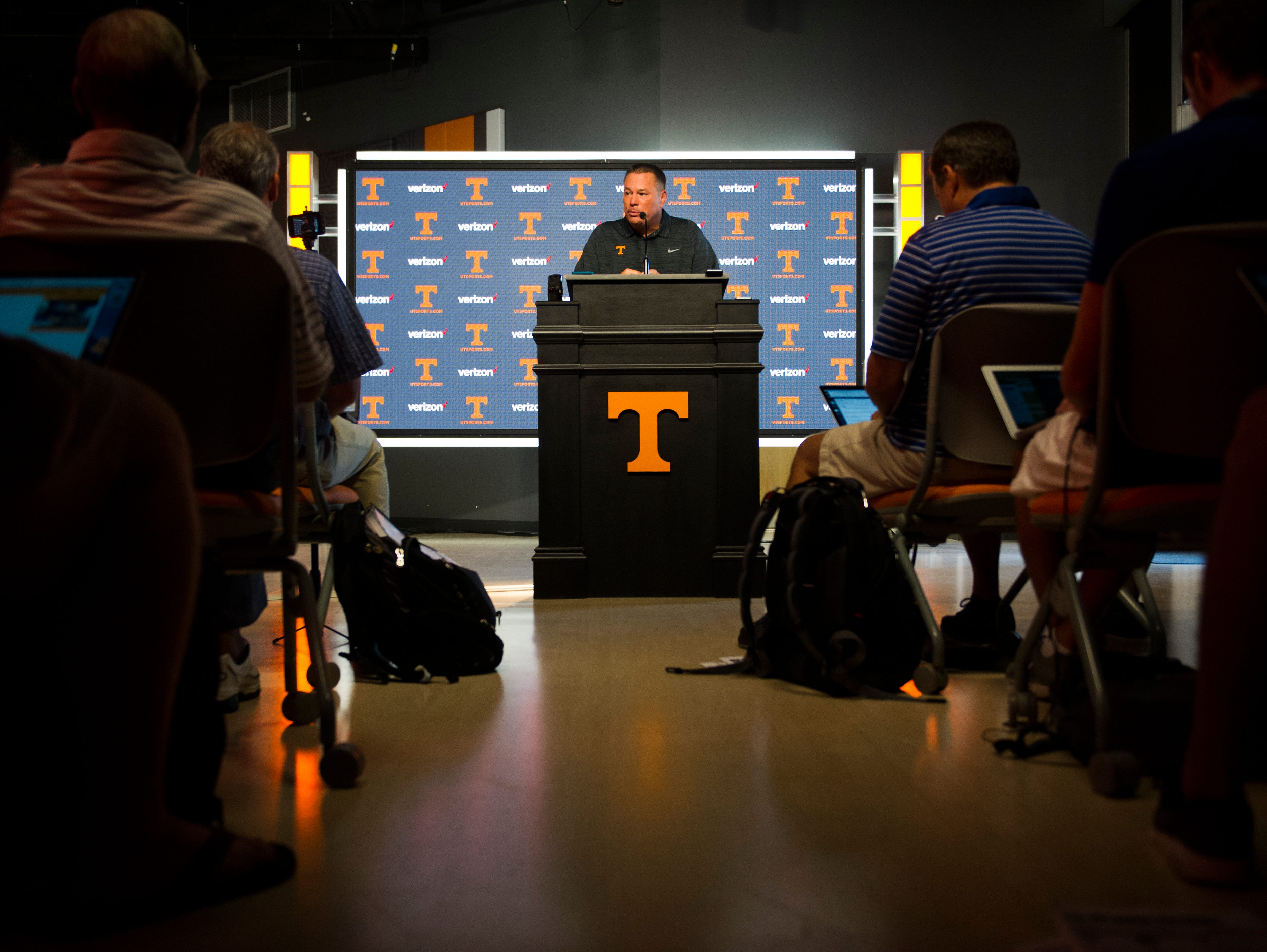 University of Tennessee head football coach Butch Jones speaks to the media during a press conference in the Ray and Lucy Hand digital studio at University of Tennessee Wednesday, Aug. 30, 2017.