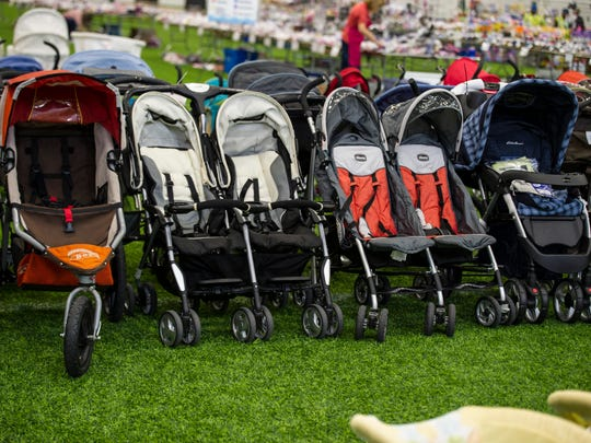 Strollers for sale at the Whale of a Sale, held twice