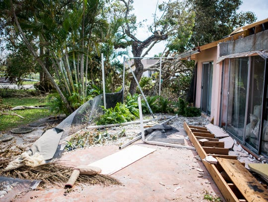 A lanai and roof in East Naples, seen on Thursday,