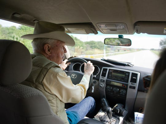 "Alto ""Bud"" Adams, Jr. leads a tour of the Adams Ranch"