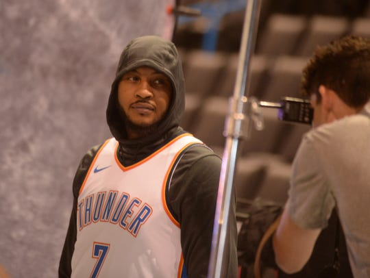 Oklahoma City Thunder forward Carmelo Anthony (7) poses