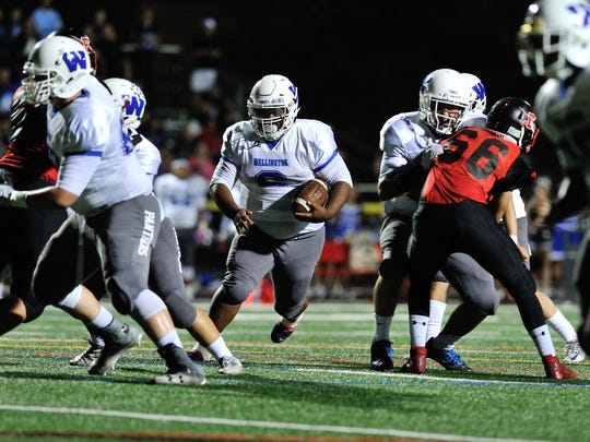 Running back Elijah Mitchell leads Wallington to a 28-19 win over Emerson on Friday, Oct. 6, 2017 and to a 4-0 record in the NJIC Patriot Division.
