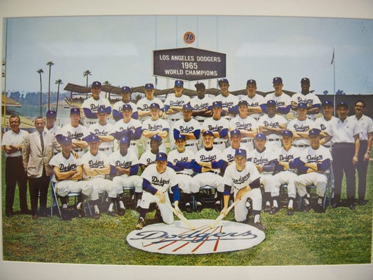 An image of the 1965 World Series champion Los Angeles Dodgers hangs in a room at Historic Dodgertown in Vero Beach.