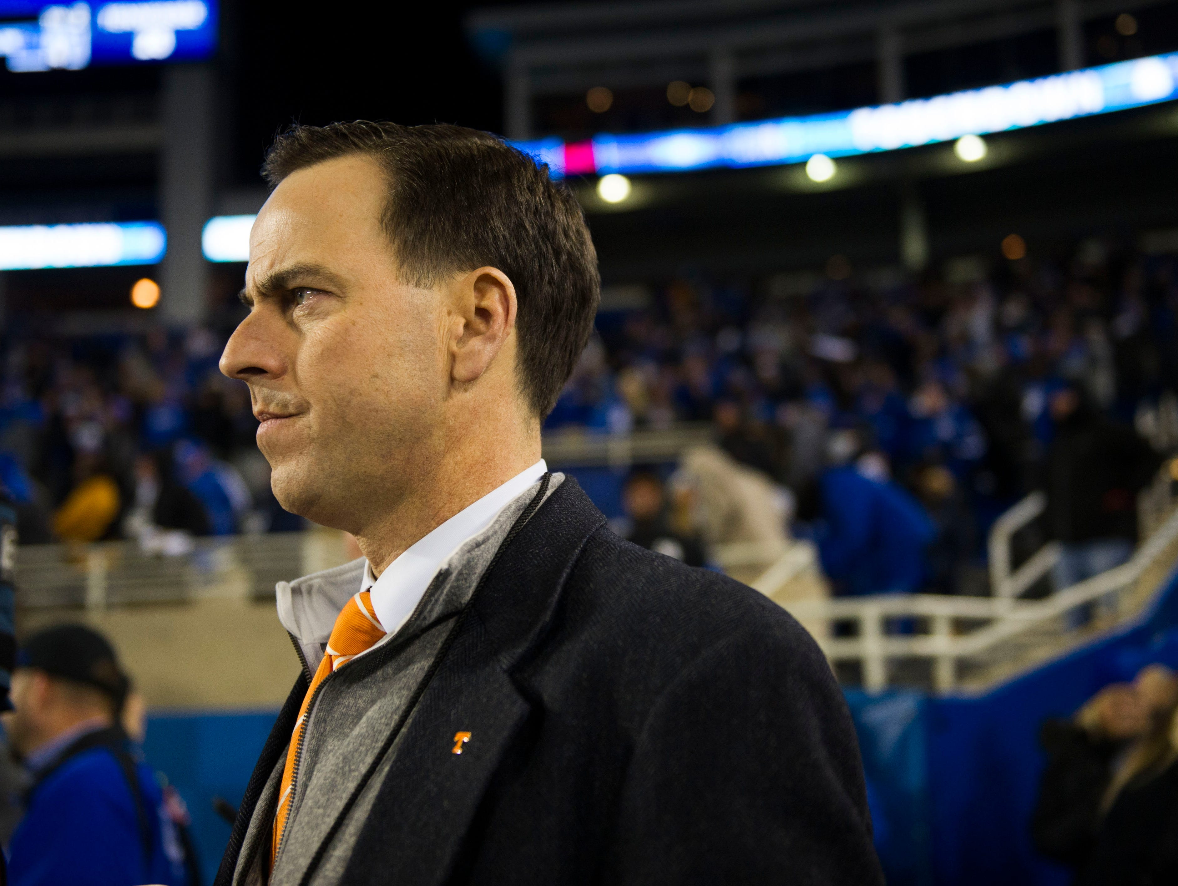Tennessee athletic director John Currie watches as Kentucky makes their game winning touchdown during the Tennessee vs. Kentucky game at Kroger Field in Lexington, Kentucky Saturday, Oct. 28, 2017.