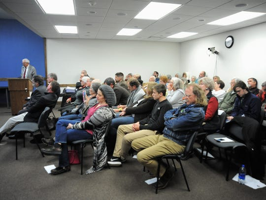 The board room in Town Hall is filled to capacity Nov. 16 during the Zoning Board of Adjustment's hearing on developer Joe Cordell's appeal.