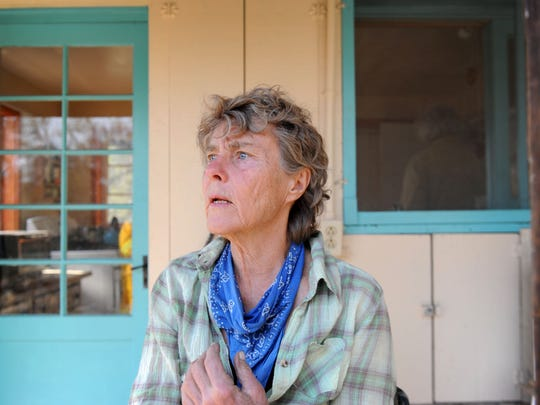Karin Dron, who lives on Gridley Road near Ojai, had to evacuate her home when the Thomas Fire threatened but the stone house built in 1932 survived. was able to save her house that is made of stone. Her house was built in She lost one small office space. The Thomas Fire is still burning in upper Ojai.