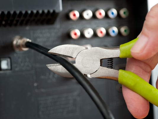 Cut the cable TV cord with hand and wire cutters