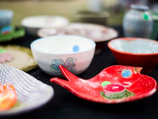 Bowls for sale at the Empty Bowls event in Cambier