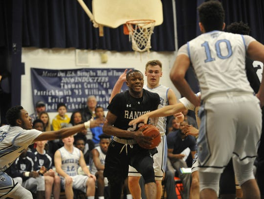 Scottie Lewis of the Ranney School, makes a move to the basket against Mater Dei Prep in a game on Feb. 5 in Middletown.