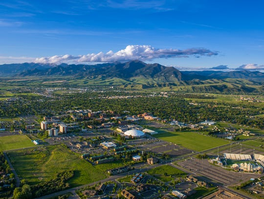 An aerial view of Montana State University in Bozeman,