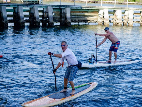 """Brian Pandiscio uses the race as a little pre-training for his upcoming distance paddle from Bimini to Florida - part of """"Crossing for a Cure."""""""