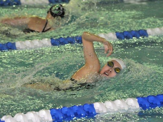 Grace Tarantola of Mountain Lakes swims in the 200
