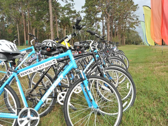 Bicycles await their riders on Friday in Titusville.