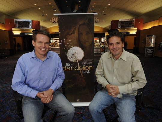 "In this 2010 photo, Bobby Downes, left, and Kevin Downes talk about their movie ""Like Dandelion Dust."""